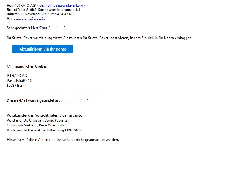 Strato-Phishing (Screenshot eines Lesers)