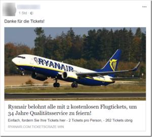 Ryanair-Gewinnspiel ist ein Fake (Quelle: Facebook)