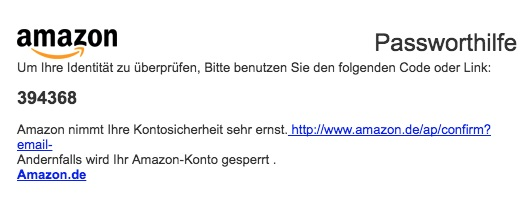 Amazon-Phishing mit Code (Screenshot)