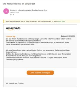 Amazon-Phishing - Vorsicht! (Quelle: Screenshot)