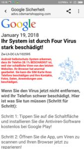 Angebliche Google Sicherheit (Screenshot eines Lesers - vielen Dank!)