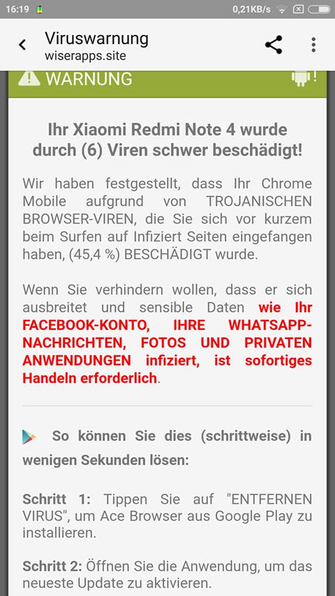 Chrome-Warnung trojanische Browser-Viren (Screenshot einer Leserin)