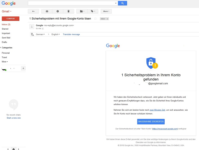 Google-Sicherheitscheck - kein Fake! (Screenshot)