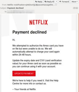 Netflix-Phishing (Screenshot-Quelle mailguard.com)
