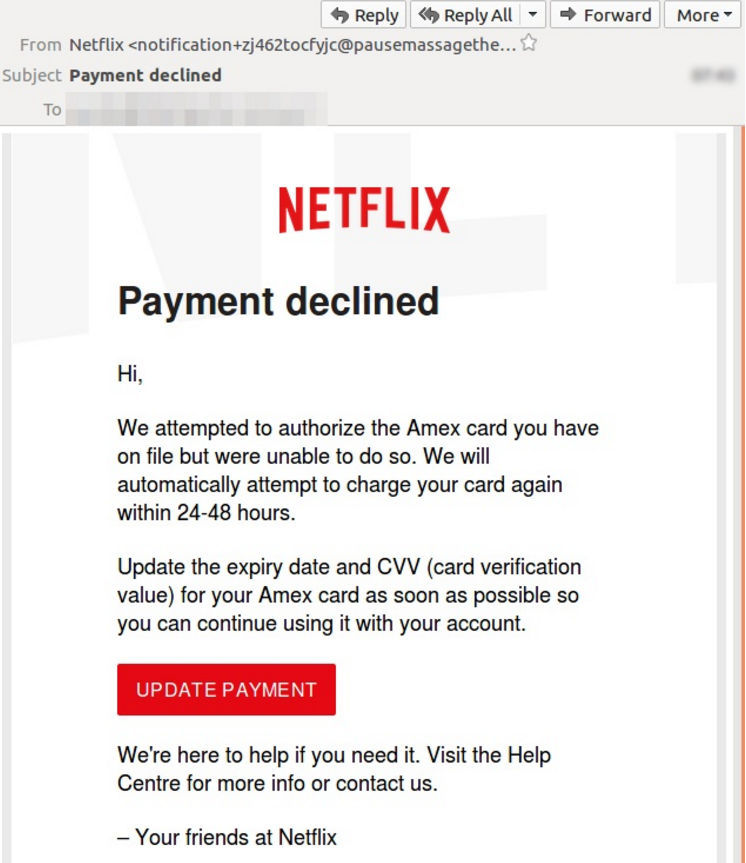 Netflix-Phishing (Screenshot-Quelle mailguard.com)