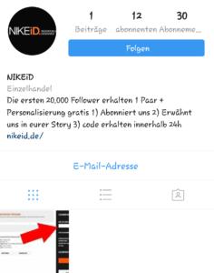 Nike-Gutschein auf Instagram (Screenshot)