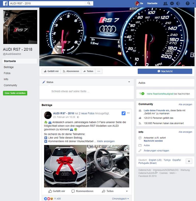 Fake: AUDI RS7 - 2018 Gewinnspiel (Screenshot Facebook)
