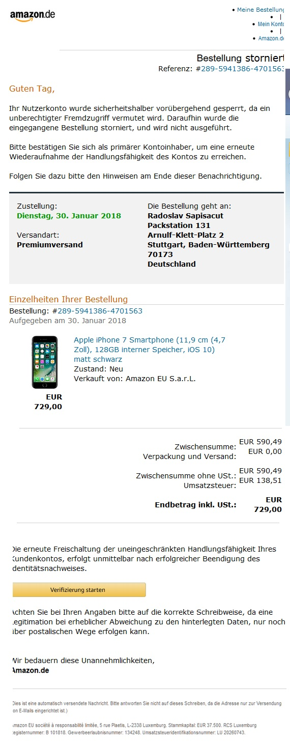 Amazon-Bestellung storniert?! (Screenshot)