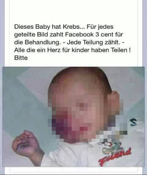 Dieses Baby hat Krebs - FAKE! (Screenshot)