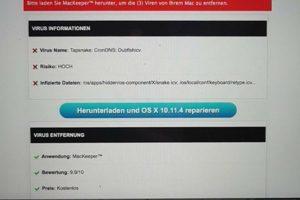 Fake-Virus-Warnung von MacKeeper