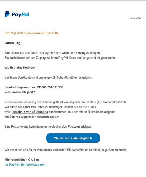 PayPal-Phishing (Screenshot einer Leserin)