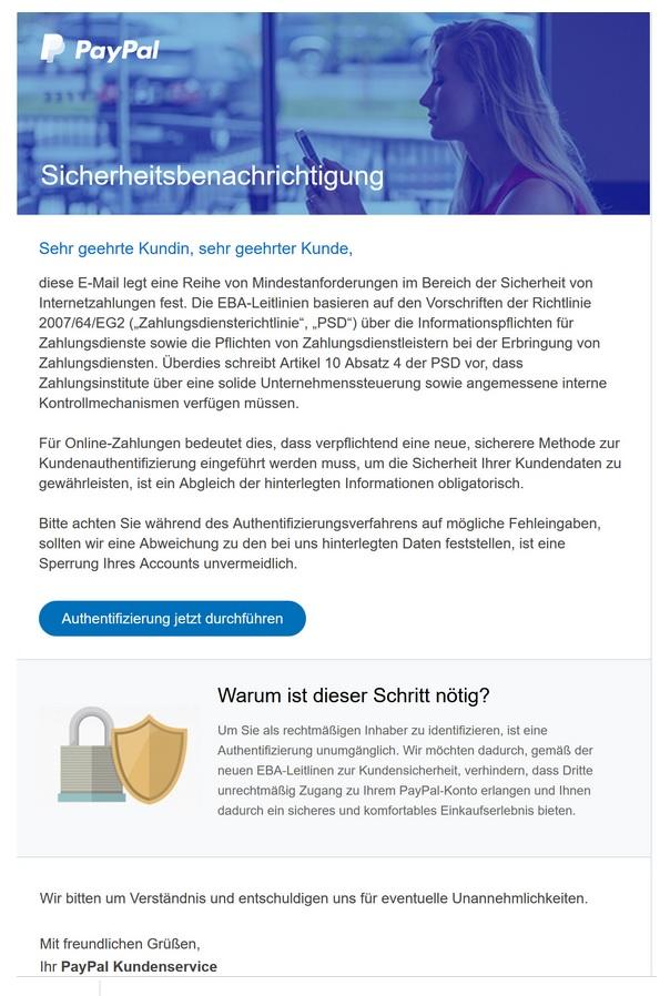 PayPal-Sicherheitsbenachrichtigung (Screenshot)