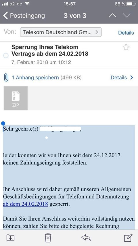 Sperrung Ihres Telekom Vertrags (Screenshot)