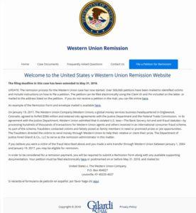 Western Union entschädigt Betrugsopfer (Screenshot westernunionremission.com)