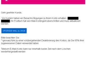 Mail-Kontigent überschritten? Achtung, Telekom-Phishing!