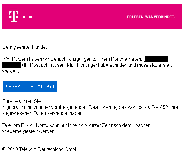mail kontigent berschritten achtung telekom phishing. Black Bedroom Furniture Sets. Home Design Ideas