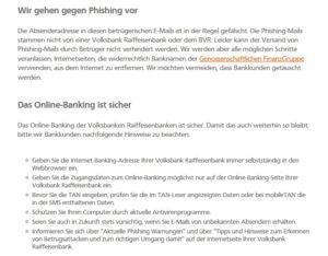 Volksbanken-Raiffeisenbanken zum Thema Phishing (Screenshot vr.de/privatkunden/news/phishing-mail.html)