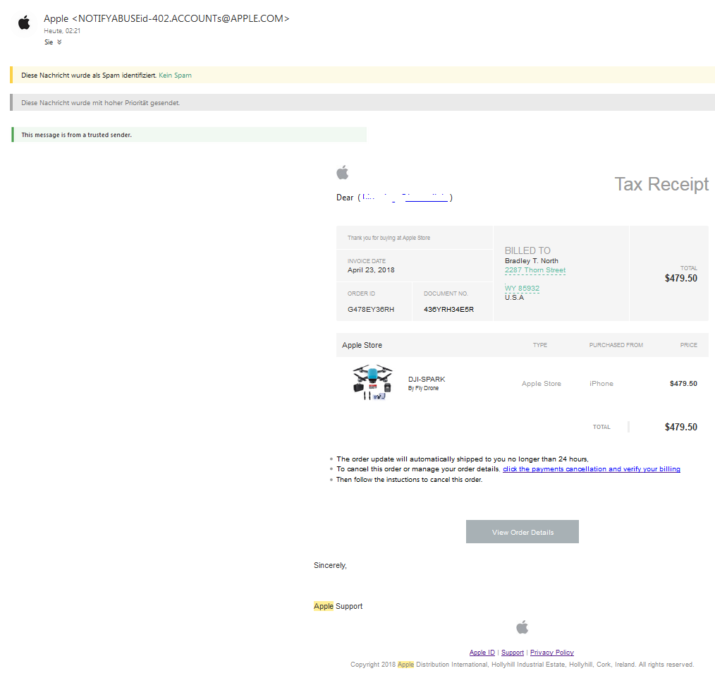 Apple-Phishing Re ( Payment Confirmed ) Your Invoice From Apple On April 23, 2018 (Screenshot)