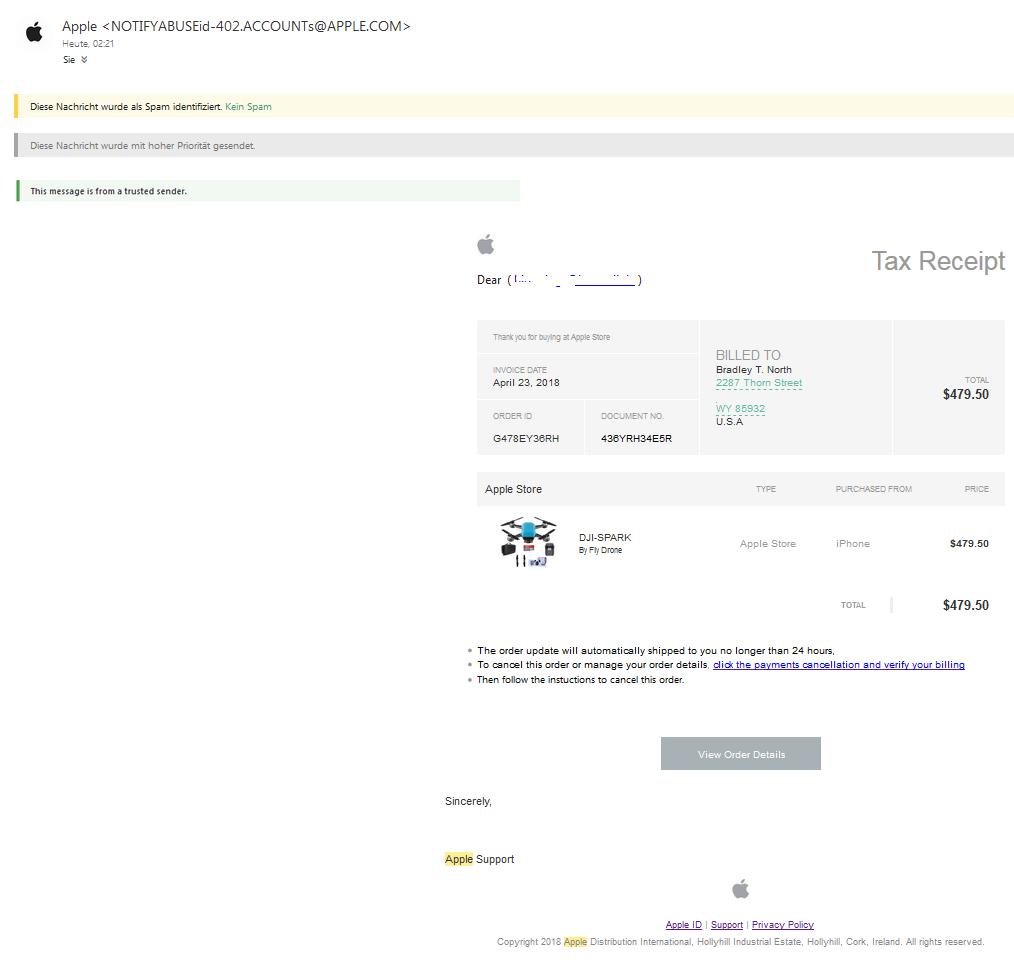 apple phishing fake bestellbest tigung einer dji spark by fly drone anti spam info. Black Bedroom Furniture Sets. Home Design Ideas