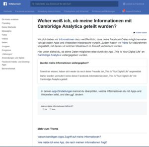 Cambridge Analytica - Sind Sie betroffen? (Screenshot facebook.com/help)