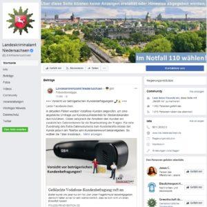Falschen Vodafone-Mitarbeiter am Telefon (Screenshot Facebook)