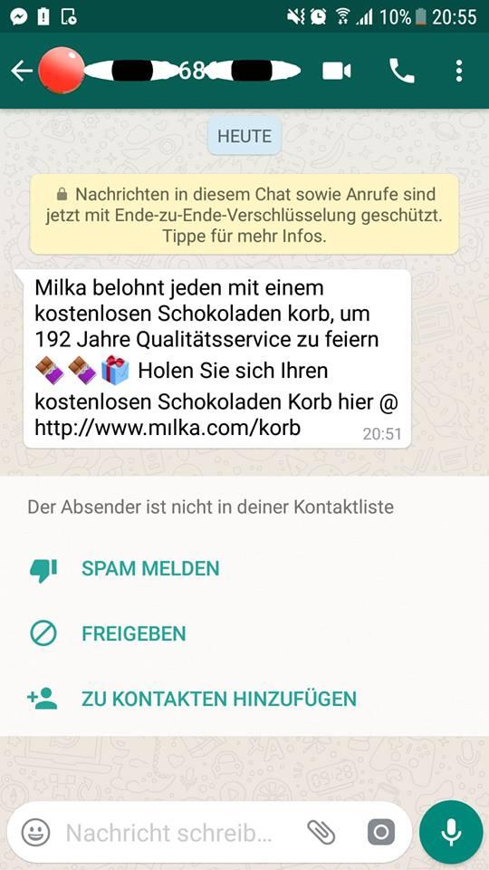 Milka belohnt jeden mit einem kostenlosen Schokoladen korb (Screenshot)