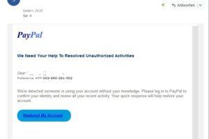 Achtung, PayPal-Phishing auf Englisch