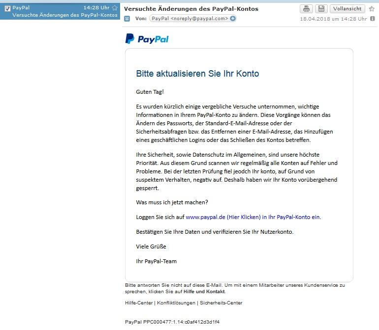 """PayPal-Phishing: """"einige vergebliche Versuche"""" (Screenshot)"""