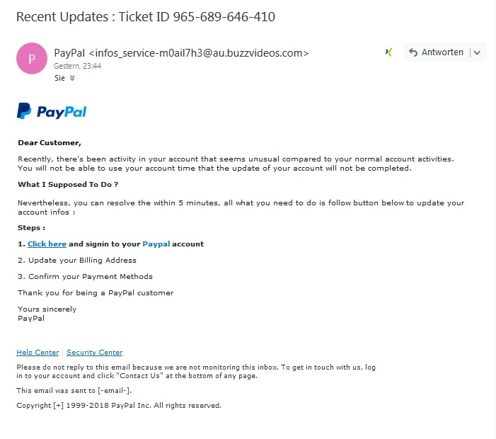 PayPal-Phishing (Screenshot)