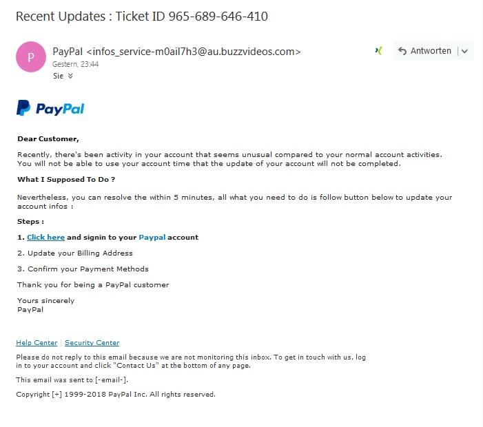 PayPal-Phishing (Screenshot)