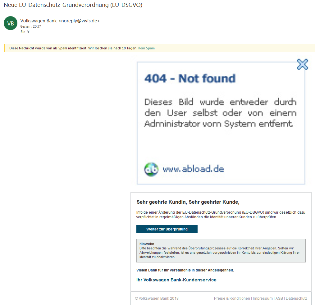 "Volkswagen-Bank-Phishing: ""Neue EU-Datenschutz-Grundverordnung (EU-DSGVO"" (Screenshot)"