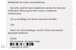 """Facebook-Fake: """"WARNUNG: Ihr Konto wird deαktiviert"""""""