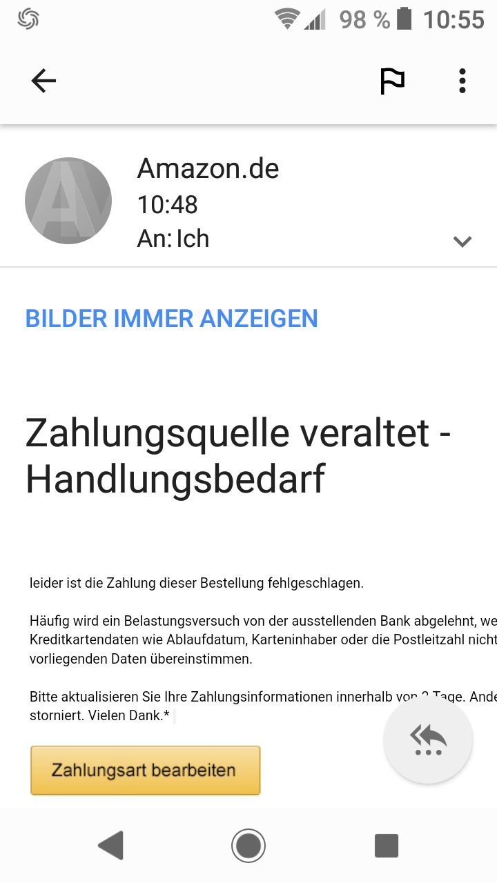 Amazon-Phishing: Zahlungsquelle veraltet!? (Quelle: Screenshot)