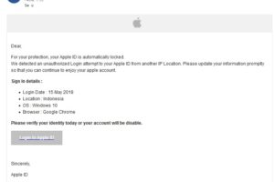 """Apple-Phishing: """"your Apple ID is automatically locked"""""""