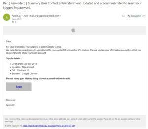 """Apple-Phishing: """"New Statement Updated"""" (Screenshot)"""