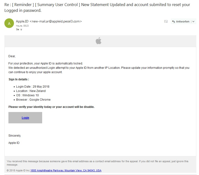 "Apple-Phishing: ""New Statement Updated"" (Screenshot)"