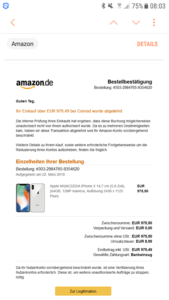 Fake-Amazon-Bestellung (Quelle: Screenshot)