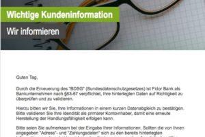 """Fidor-Phishing: """"Systemnachricht: Bitte bestätigen sie Ihren Fidor Konto"""""""