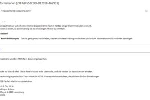 """Achtung, PayPal-Phishing: """"Kreditkarteninformationen [27FA84558CDD-DE2018-462933]"""""""