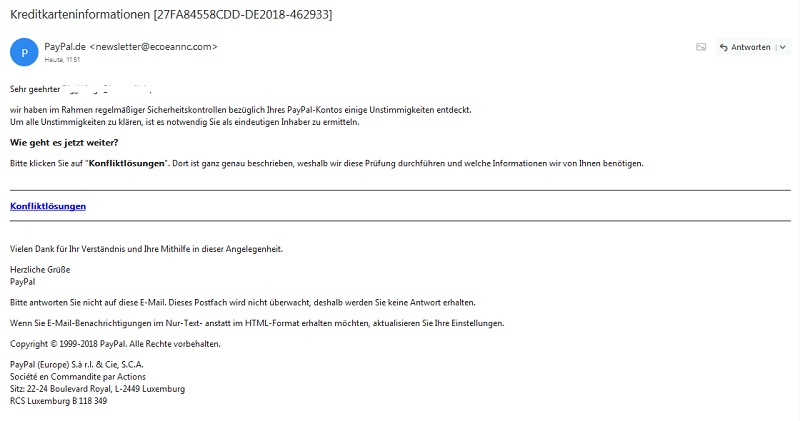 PayPal-Fake - angebliche Kreditkarteninformationen (Quelle: Screenshot)