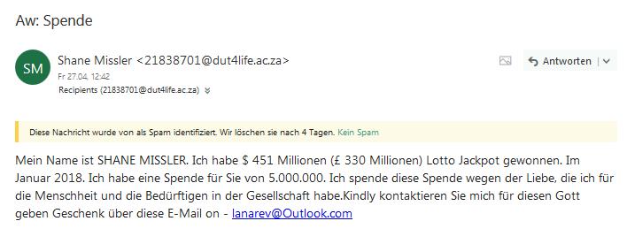 Vorschussbetrug aka Spende (Screenshot)