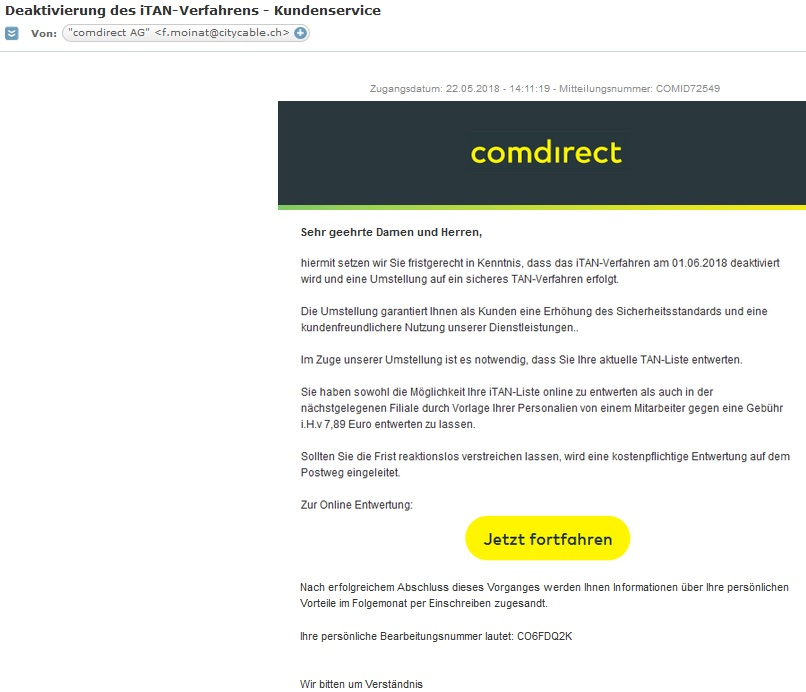 comdirekt-Phishing (Screenshot)