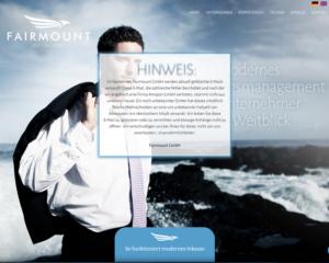 Fake-Amazon-Inkasso-Forderung im Namen der Fairmount GmbH (Screenshot: fairmount.de)