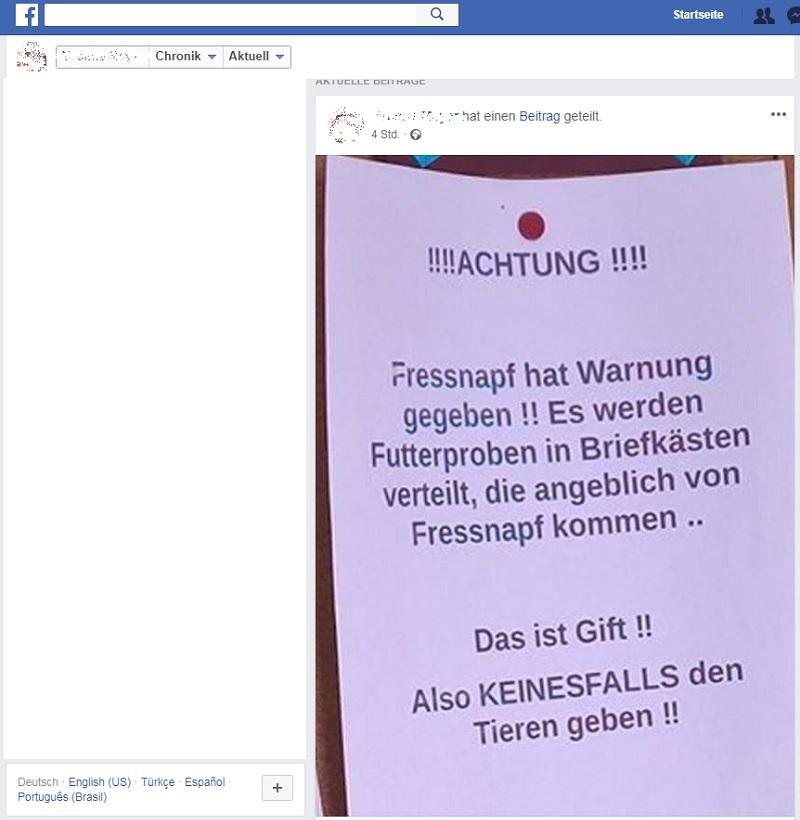 Die angebliche Fressnapf-Warnung hält sich (Quelle: Facebook-Screenshot)