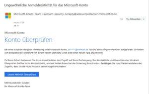 Echte E-Mail: Microsoft-Konto überprüfen (Quelle: Screenshot)