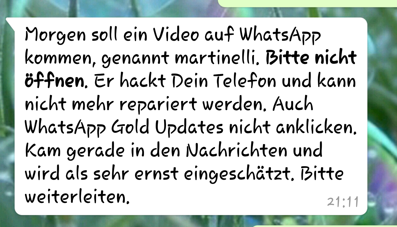 Martinelli-Virus auf WhatsApp? (Quelle: Screenshot)