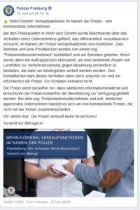 Verkaufsaktionen im Namen der Polizei (@PolizeiFreiburg/Facebook)