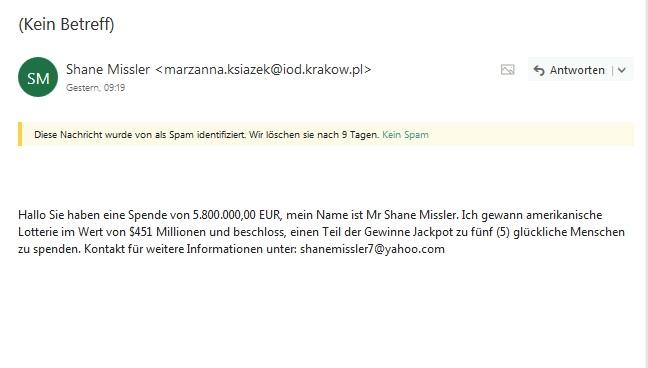 Vorschussbetrug von Mr Shane Missler (Screenshot)