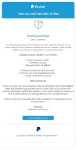 "PayPal-Phishing: ""Your account has been limited"" (Screenshot)"