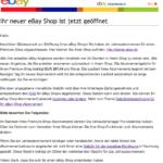 """Fake-ebay-Rechnung: """"Herzlichen Glückwunsch zur Eröffnung Ihres eBay Shops"""""""